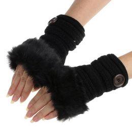 Wholesale Pink Fur Gloves - winter gloves 2017 Fashion Button Winter Knitted Faux Fur Fingerless Gloves Women Wrist Warm Mittens Women Guantes Mujers