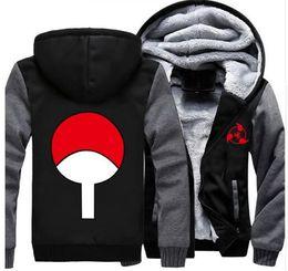 Wholesale Men Clothes Usa - USA size Anime NARUTO Akatsuki Cosplay Zipper Jacket Thicken Hoodie Coat Clothing Casual
