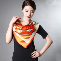 Wholesale Silk Chiffon Scarf Silver - PROMOTION Sping And Autumn Female Satin Scarf,Big Square Scarves Printed,Women Scarf,Elegant lady scarves Polyester Silk Scarf Shawl 90*90cm
