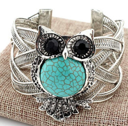 Wholesale Antique Ethnic Silver Cuff Bracelet - 30PCS Owl Bracelets For Women Men Antique Silver Color Turquoise Charm Cuff Bangles Link Chain Ethnic Accessoires Jewelry F62