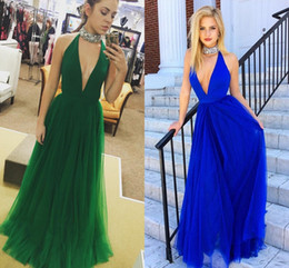 Wholesale Dark Green Natural Jade - 2017 Newest Summer Beach Prom Dresses Plunging Neckline Halter Satin Tulle Backless Jade Green Blue Party Dresses Women Evening Gowns