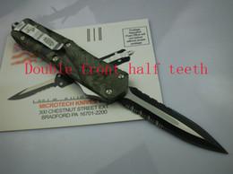 2019 portachiavi in palissandro Precipitò MICRO TECH coltelli camuffamento Micro utensili da taglio tattici coltelli pieghevoli auromatic coltello da campeggio Doppio mezzo denti anteriori