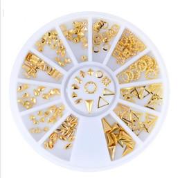 Wholesale Wheels Rivets - 12 types Punk Rivet Gold Nail Tips Metal Slice 3D Nail Metallic Studs Stickers DIY Jewelry Decorations Manicure Wheel