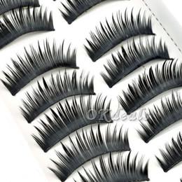 ciglia di capelli umani all'ingrosso Sconti All'ingrosso 10 paia di donne Lady Black False Eyelashes Hair Soft Fake Eye Lashes capelli umani Lash Makeup Tools