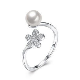 Wholesale Make Jewellery Sets - Fashion Jewelry Free Shipping Rings Making 100% Real 925 Sterling Silver Rings Jewellery making for Women Wedding Gifts Charming Pearl Ring