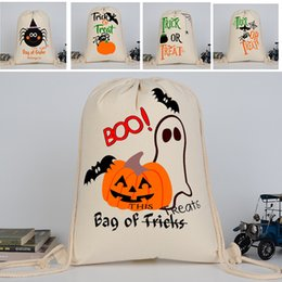 Wholesale spider backpack - Halloween Backpack Bags Drawstring Canvas Pumpkin Spider Shopping Bags Festival Gifts Bag 9 Style Eco Backpack 36*46CM WX-B13