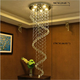 stair pendant Promo Codes - LED Modern Crystal chandeliers stair pendant lights fixtures indoor spiral Hanging Lights Deco Lamp Lighting for Hotel Hall Stairs