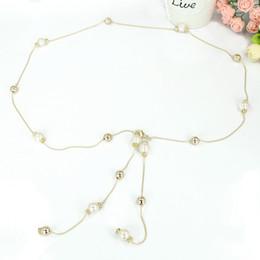 Wholesale Waist Chain Dress - Wholesale- Ladies Women Pearl Belt Causal Bead Sweet Thin Metal Waist Chain Dress Belt Fashion Luxury 200-329