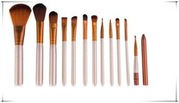 Wholesale Nude Naked - Hot Nude 12pcs set Makeup Brush Gold Professional Make up Brushes With Tool kit BB Cream High Quality With Naked Iron Box Factorys DHL Free