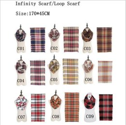 Wholesale Plaids Infinity Scarves Grid Loop Scarf Blankets Women Tartan Oversized Check Shawl Lattice Wraps Fashion Fringed Cashmere Pashmina YYA176