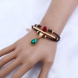 Wholesale Turquoise Gemstone Heart Beads - Vintage Multi Strand Bracelets Manmade Waterdrop Gemstone Pendant Wooden Beads Wrap Bracelets Fashion Gifts Woven Bracelets Wax Manmade