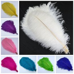Wholesale White Feather Rose - 14-16inch White black Red Pink Blue Yellow Green Purple Rose Ostrich Feather Plumes for Wedding Centerpiece Table Party Desktop decoration