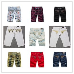 Wholesale Dark Jeans For Mens - 2017 Famous Brand Men Jeans Robin Short Jeans Pants Gold Metal Wing Robins Diamond Jeans For Man Designer Mens Trouser