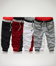 Wholesale Cotton Crop Trousers - Fashion Men's Cropped Trousers Joggers Hip Hop Harem Dance Baggy Fitness Casual Capri Pants Sweatpants S-3XL