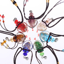 Wholesale Vial Jewelry - lampwork glass pendants aromatherapy pendant necklaces jewelry wish perfume vial bottle pendants essential oil diffuser necklace