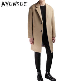 Wholesale Long Camel Coat Men - Wholesale- Medium Long Coat Wool Men Brand Clothing Pea Jacket Turn-down Collar Thicken Black Mens Coat Overcoat Camel Men's Coats WUJ1191