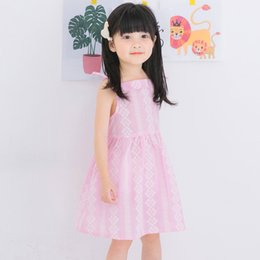 Wholesale Girls Sleeveless Harness Dress - Linen printing Girls Dress 2017New Summer Children Clothing Icecreams Print Dress Casual Style Harness Dress Kids Clothes For 3-8