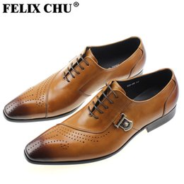Wholesale Silver Glitter Lace Heels - Genuine Leather Men Dress Shoes Luxury Men's Business Casual Shoes Black Brown Classic Gentleman Shoes Brand Size 38-44