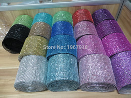 Wholesale Wholesale Craft Mesh - Wholesale-1 Yard 91.5cm Rhinestone Chain Diamond Mesh Trim Wedding Decoration Crafts Bling Wrap Party Crystal DIY Festive Events Supplies