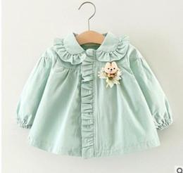 Wholesale Dolls Coats - Girls princess windbreaker Infants cotton doll collar cartoon Appliqued Cardigan coat kids zip up tops 2017 new baby girls clothes G0319