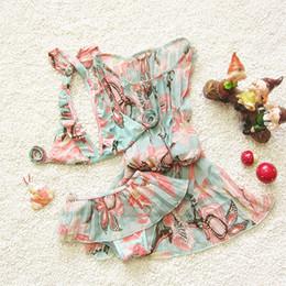 Wholesale Girls Bra Brief Sets - summer kids girls swimsuits bra+briefs skirts+chiffion dresses swimwears sets children dresses girl neck bras beach bikinis spa