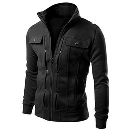 Wholesale Tracksuits For Men Wholesale - Wholesale- 2016 New Arrival 2016 Men's Stand Collar Zipper Tracksuit Casual Jacket Coat for Winter