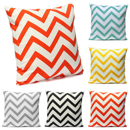 Wholesale Chevron Linen - New Fashion Ripple Chevron Zig Wave Linen Cotton Pillow Cover Brief Generous Pillow Case Pillowcases For Home Accessories