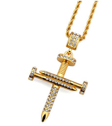 Wholesale Nail Chain Jewelry - Nail Cross Necklace Pendants Gold color BlingBling Jewelry for Men Women Hip Hop Charm Cuban Link Chains