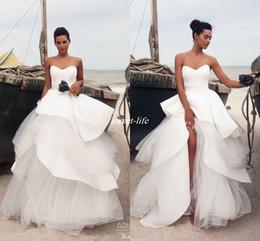 Wholesale Stylish Bridal Dresses - Chic Stylish 2017 Arabic Beach Wedding Dresses Sweetheart Sash Tiers Ball Gown Bridal Dresses Satin Wedding Gowns