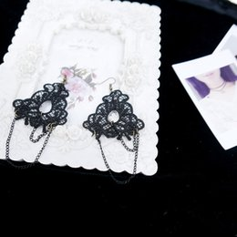 Wholesale Pair Cosplay - 12 pairs Lot Womens Black Lace Tassel Drop Dangle Chain Earrings Halloween Masquerade Cosplay Show Party Fancy Dress Hook Earrings Jewelry