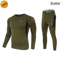 Wholesale Thermal Corset - ESDY Brand outdoor Winter Thermal Mens Underwear Tactical Fleece Warm Clothes Pullover Long Sleeve Military Quick-drying Corsets Men