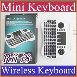 Wholesale Android Desktops - 20X Rii i8 Remote Mouse Keyboard Combo Wireless 2.4GHz Touchpad Keypad For U1 16 S905 MXQ PRO M8S WIFI Bluetooth Android TV BOX B-FS