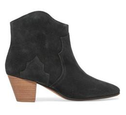 Botas de damasco de camurça feminina on-line-2017 borgonha cor ankle boots mulheres bordados botas de camurça de couro ponto dedo do pé sapatos de festa mujer botas senhoras bota de gladiador de salto baixo