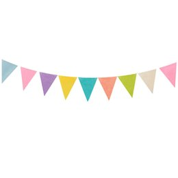Wholesale Baby Girl Bunting - Wholesale- 3M Colorful Happy Birthday Pennant Flags Bunting Banner Garlands Non-woven For Kids Boy Girl Baby Party Shower Home Decoration