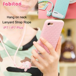 Wholesale Iphone Cover Case Chocolates - Fabitoo Soft Silicone Cover Case For iPhone 7 Ice cream Chocolate Hang on neck Lanyard Strap Rope Capa For iPhone 7 Plus