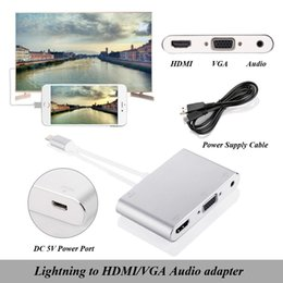 Wholesale Aluminium Apple - New Lightning to hdmi vga audio adapter alloy aluminium Iphone to TV Projector adapter hdmi vga converter for iphone5s 6 6s 7 ipad
