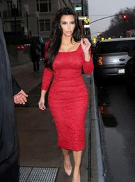 Wholesale Kim Kardashian Long Sleeve Dresses - Kim Kardashian Celebrity Lace Tea Length Short Prom Dresses 2017 Square Neck Long Sleeves Vestidos De Festa