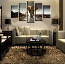 Wholesale Group Cartoons - Printed Africa Elephants Landscape Group Painting room decor print poster picture canvas Free shipping