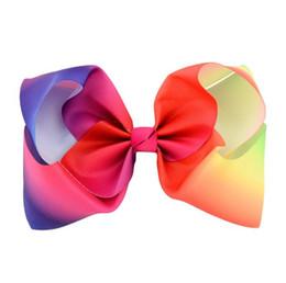 Wholesale Girls Hair Bubbles - Girls 8 Inch Large Rainbow Grosgrain Ribbon Bow Clips Bowknot Headband Hairpins Bubble Flower Bow Barrettes Kids Hair Clip