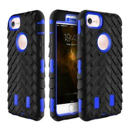 Wholesale Case Silicone Tire - For Iphone 8 7 6 6s Plus 5 5s se Tire Pattern Hybrid Armor Phone Case TPU PC Shockproof Cover OPP Bag