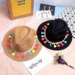 Wholesale Small Brim Summer Hats - Fashion new summer beach color tassel braided straw hat sun shade travel England small hat couple family hat