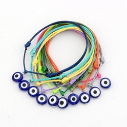 Wholesale Mixed Evil Eye Charm - Hot Sell ! 100 pcs Mix Color Wax Rope Mixed Color Resin Evil Eye Beads Charm Adjustable Bracelets