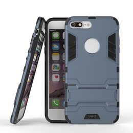 Wholesale Iphone Steel Cases - For Apple iphone 7 7 plus 6 6S Case Samsung Galaxy Note 5 S7 edge Cases Steel Armor Cover TPU+PC Cover Kickstand 2 IN 1 Protective Covers