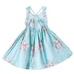 Wholesale Cotton Party Dresses For Toddlers - Retail Girls Dress Brand Summer Beach Style Floral Party Backless Dresses For Girls Vintage Toddler Girl Clothing 1-12T H1701