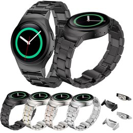 Wholesale Gears Replacement - Wholesale-WatchBands Stainless Steel Watche Band + Connector For Samsung Gear S2 RM-720 Replacement Watch Band 2016 Hot sale High Quality