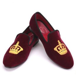 Wholesale Smoking Shoes - Embroidered Gold Crown Design Men Velvet Shoes Fashion Men Smoking Slippers male wedding and party loafers
