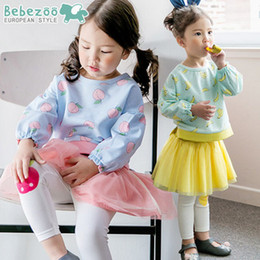 Wholesale Girls Tutu Tights - Baby girls outfit Bebezoo children long sleeve round collar fruit printed T-shirt+tulle tutu tights 2pcs sets kids cotton princess setsT1319