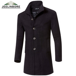 Wholesale Wool Single Breasted Coat Mens - Wholesale- 2016 Men's Wool Jackets Autumn Winter Brand Men Woolen Coats Long Jackets Trench Coats Mens Warm Wool Overcoat Plus Size M-3XL