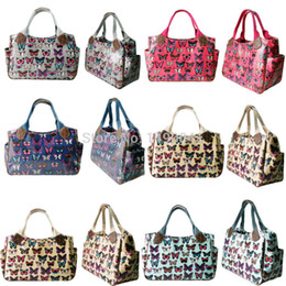 Wholesale Camel Hand Bag - Wholesale- Miss Lulu Women Girls Butterfly Oilcloth Handbag Shoulder Tote Market Day Shopper Hand Bag 1105