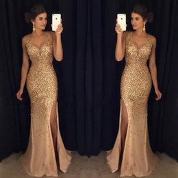Wholesale Vintage Silk Chiffon Gown - Gold Sparkly Rhinestones Crystal Mermaid Prom Dresses 2017 Sexy Deep V Neck Cutaway Sides Split Evening Dresses Major Beading Party Gowns